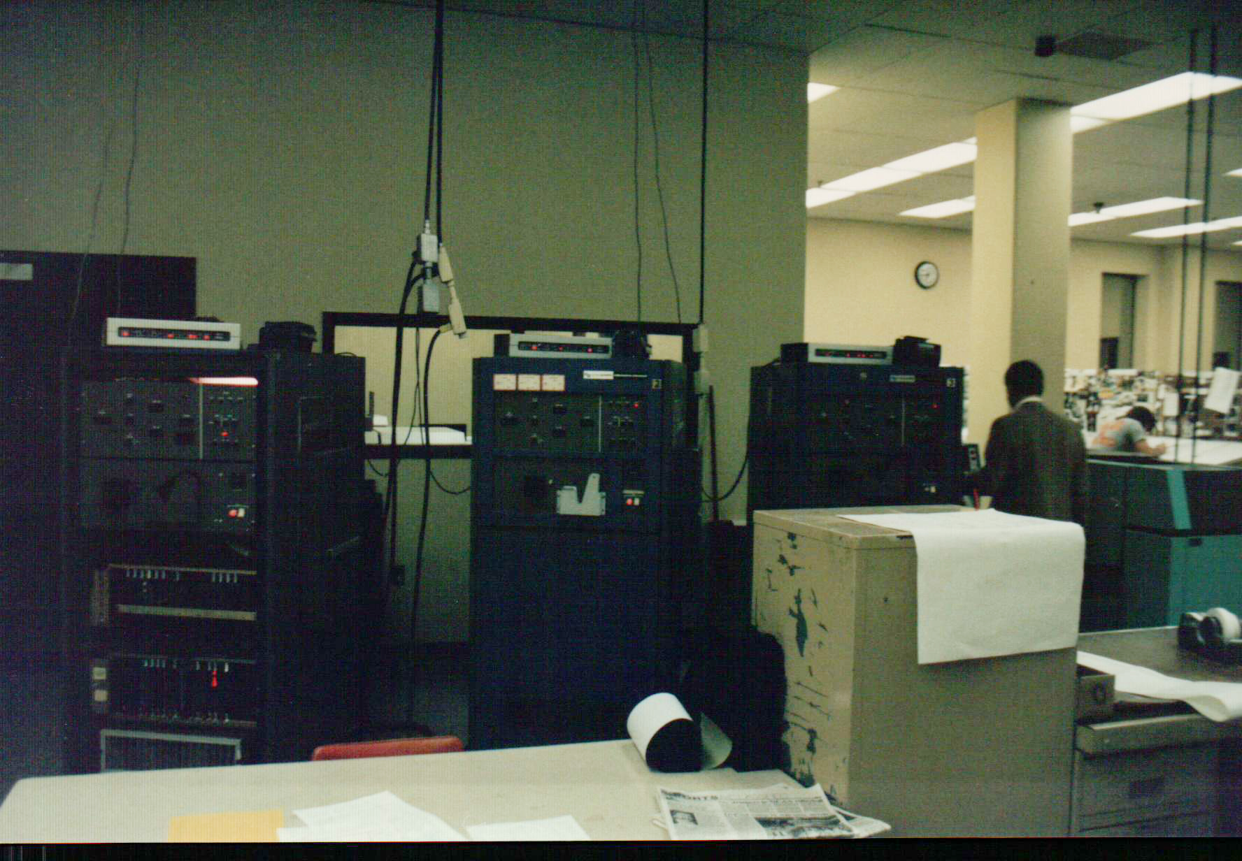 A pair of Compugraphic videosetters. One of my jobs at The Kalamazoo Gazette had me arriving in the dark hours of the morning to operate these machines to produce the cold type that would be pasted up for that day's newspaper.
