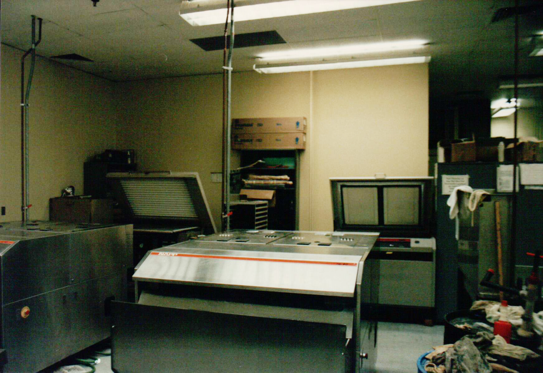 The platemaking department at The Kalamazoo Gazette. Another one of my jobs was as a platemaking technician. It was one of my favorite jobs.