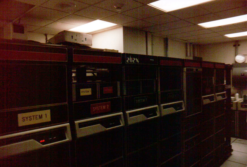 Racks containing the Gazette's Atex system which ran on the DEC PDP/11 minicomputer system.