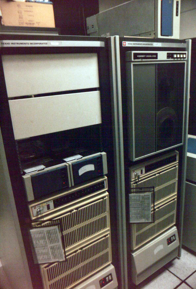 Racks containing the Gazette's Texas Instruments minicomputer accounting system.