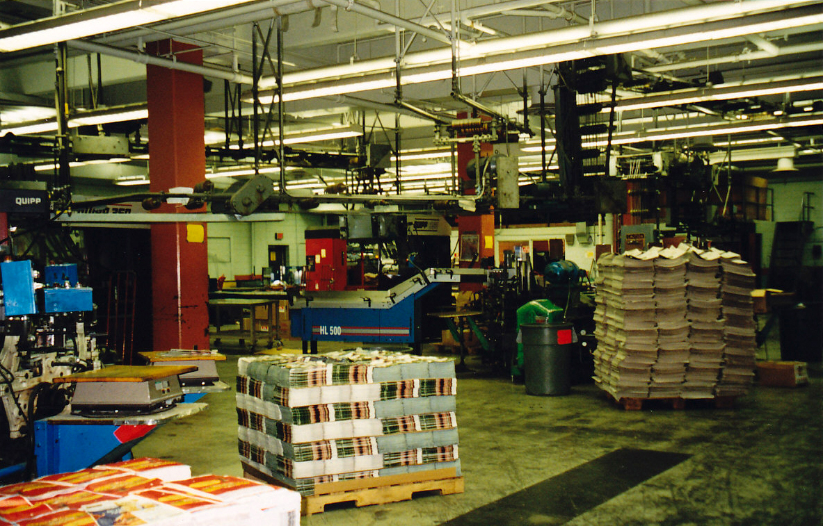 The Gazette's mailroom where printed papers would be married up with inserts and bundled into zones for delivery.